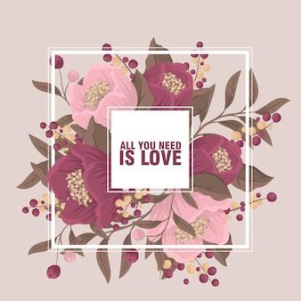 Цветочный бордюрный фон - розовая цветочная рамка