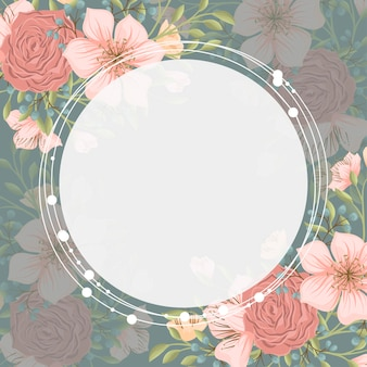 Floral border background - pink flower wreath