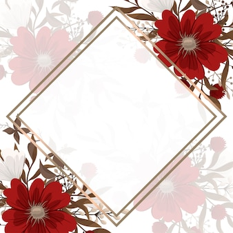 Floral border background - red flowers