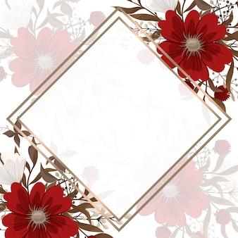 꽃 테두리 배경-붉은 꽃