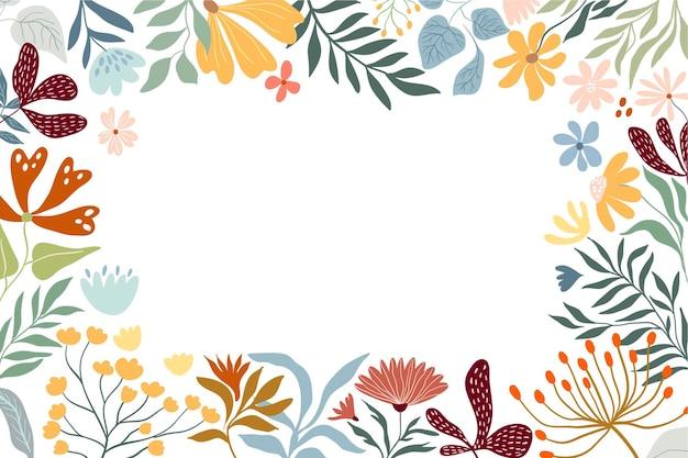牧草地の花や植物の白い背景を持つ花のボーダー装飾フレーム