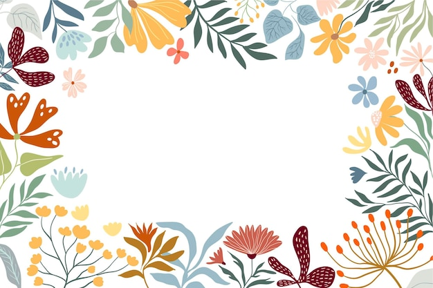 Floral border decorative frame with meadow flowers and plants white background