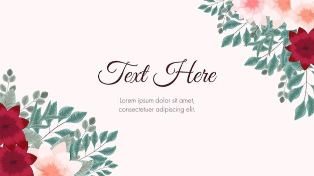 웹 배경 배너 소셜 미디어 포스트 앱 포스터로 사용되는 꽃 테두리 프레임 카드 템플릿