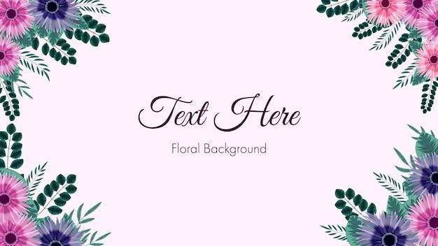 웹 배경 배너 소셜 미디어 게시물 앱으로 사용되는 꽃 테두리 프레임 카드 템플릿