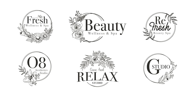 Floral border frame for wedding, spa, florist and boutique logo
