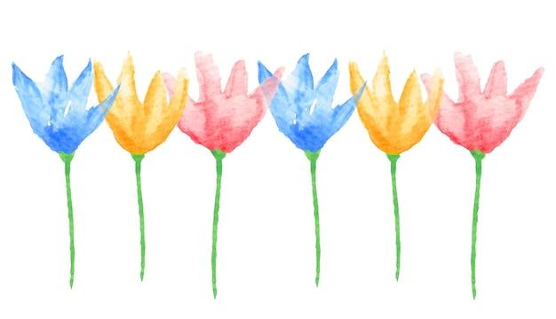 花のボーダー。手描きの水彩画の花。結婚式やベビーシャワーの招待状のグラフィックデザイン要素、グラフィックデザイン要素、スクラップブッキング。ベクトルイラスト。