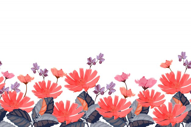 Floral border. red, pink, purple summer flowers isolated