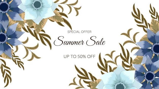 Цветочная рамка летняя распродажа рамка шаблон плаката в социальных сетях