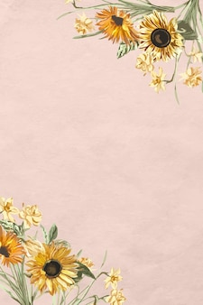 분홍색 배경에 수채화 해바라기와 꽃 테두리 벡터