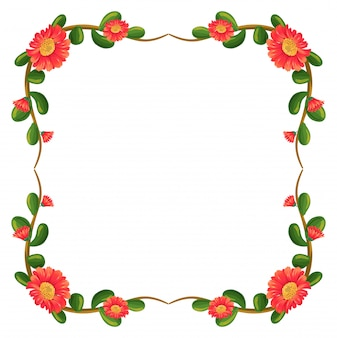 A floral border with orange flowers frame