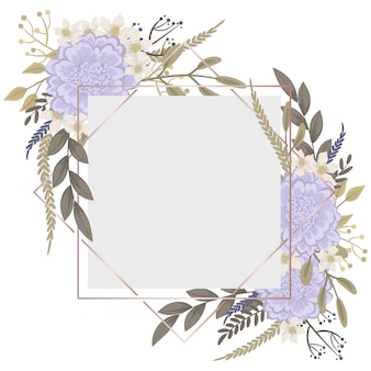 보라색 꽃과 꽃 테두리