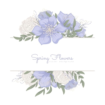 Floral border with sweet flowers