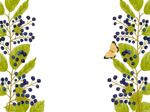 Floral border with watercolor black berries and herbs