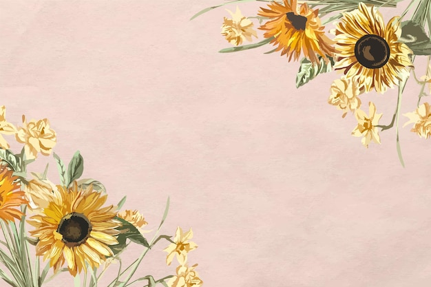Floral border  with watercolor sunflower on pink background