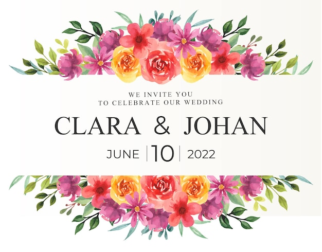 Floral border with watercolor for wedding invitation