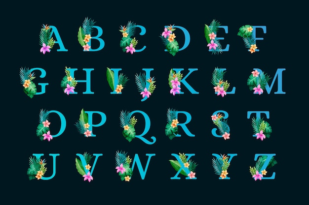 Floral botanical alphabet on black background