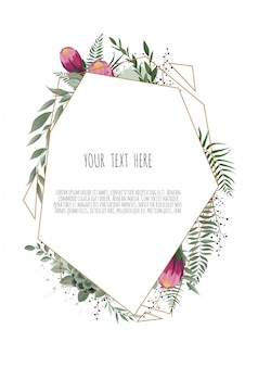 Floral botanical card with leaves with geometrical frame.