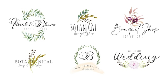 Floral botanical feminine logo collection