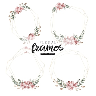 Floral botanical golden geometrical frames
