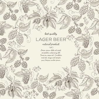 Floral botanical hand drawn template with text and beer herbal hop branches on light
