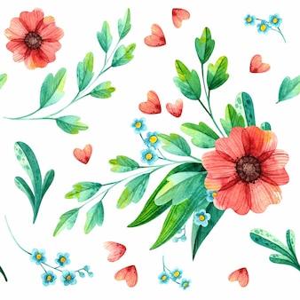花の植物の水彩画。春の葉と花の手描き