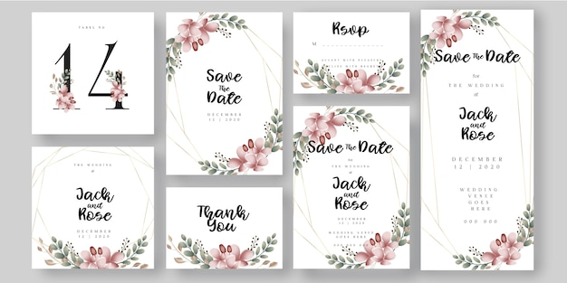 Floral botanical wedding invitation card universal sizes