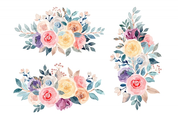 Floral bouquet collection with watercolor