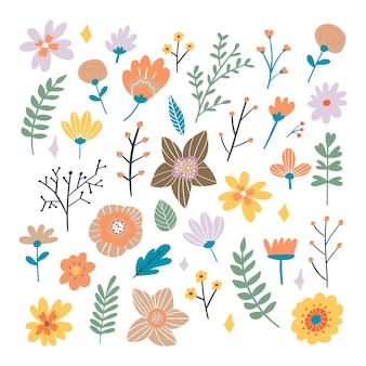 Floral bouquet of hand drawn fantasy folk flowers. botanical illustration in flat cartoon style. great as banner, print and card.