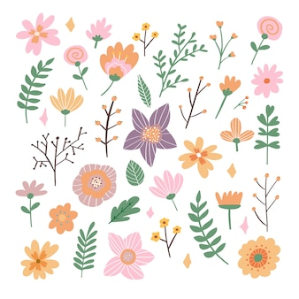 Floral bouquet of hand drawn fantasy folk flowers illustration