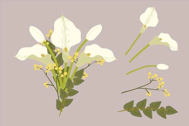 평면 디자인의 꽃 꽃다발