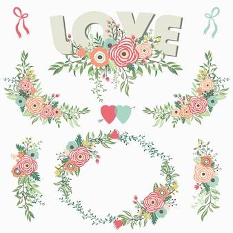 Цветочный букет элементов любви