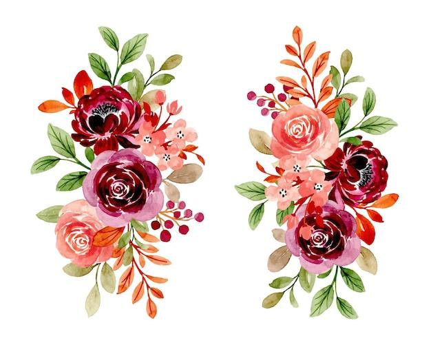 수채화와 부르고뉴 복숭아의 꽃 꽃다발