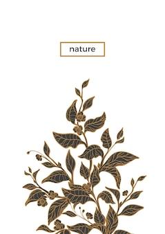葉と花と現実的な枝の花の花束茶の茂みの植物画スケッチ