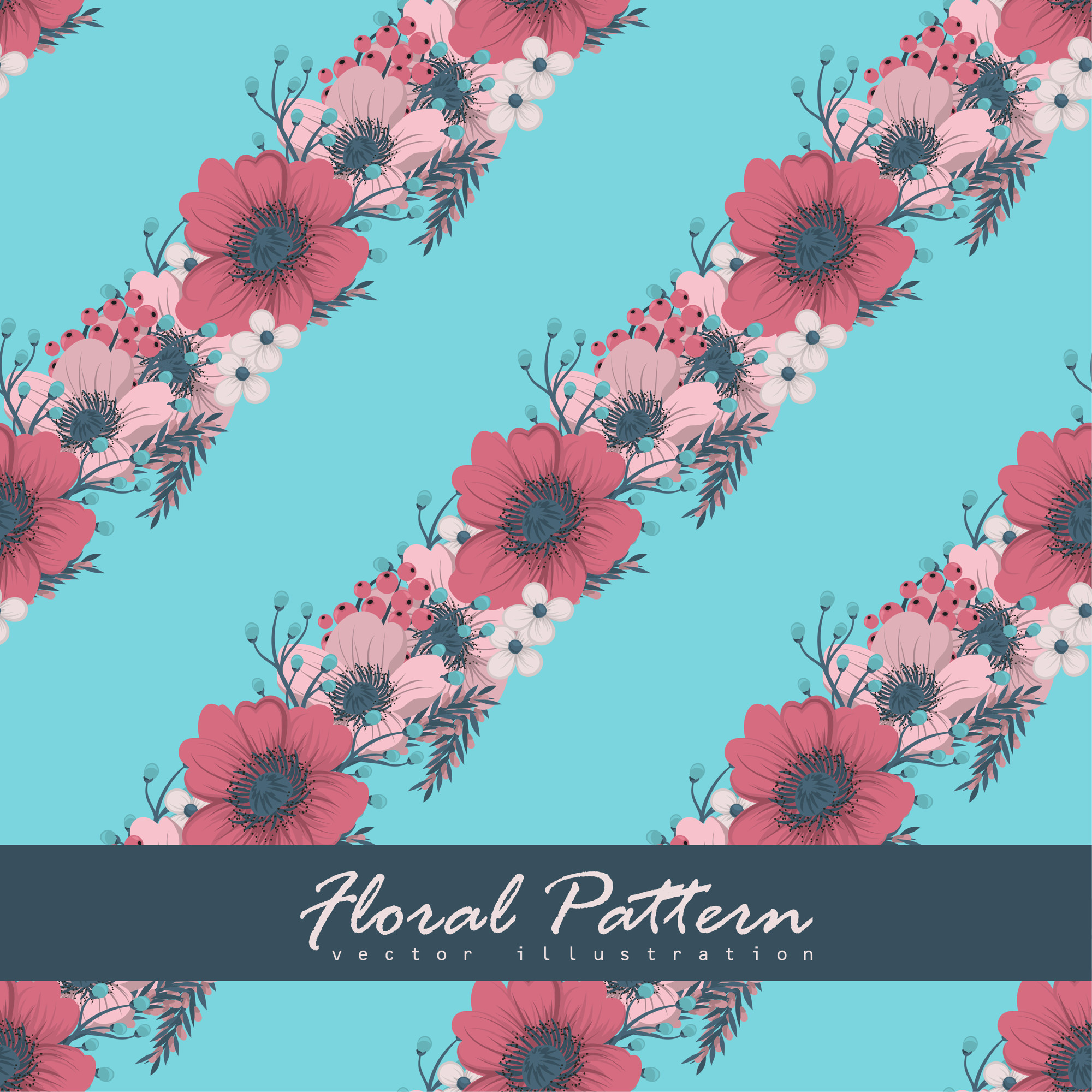 Floral bouquet pattern with flowers and leaves