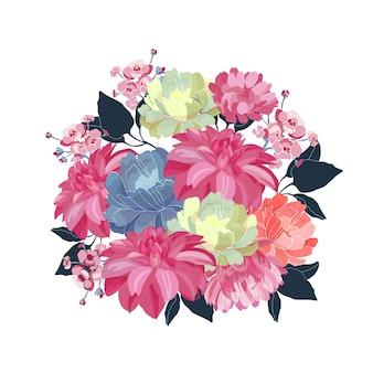 꽃 꽃다발. 분홍색, 노란색, 파란색 꽃, 흰색 바탕에 파란색 잎. 꽃 그림, 수채화 스타일.