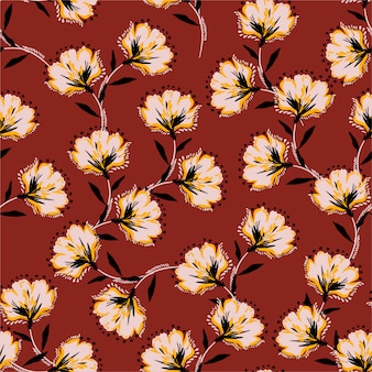 Floral bouquet vector pattern with blooming retro flowers