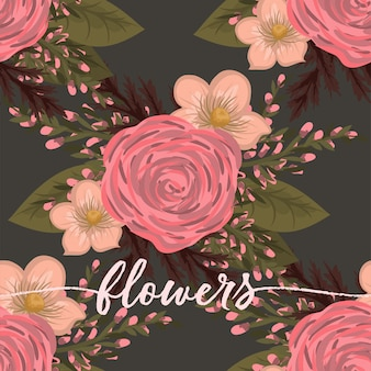 Floral bouquet vector pattern with flowers and leaves