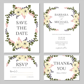 Floral bouquet wedding invitation template