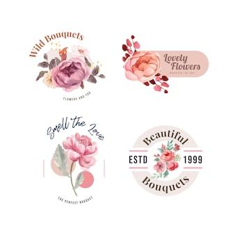 Цветочный букет с любовью, цветущей концепцией дизайна, акварельной иллюстрацией
