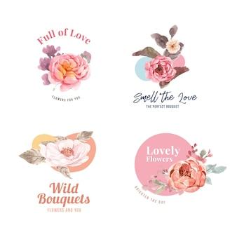 사랑 피 개념 디자인 수채화 일러스트와 함께 꽃 꽃다발