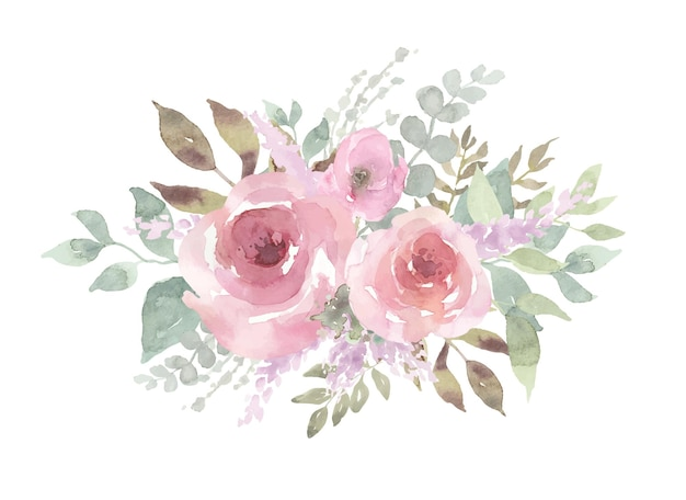 水彩で花の花束