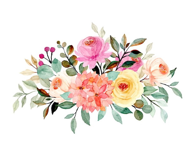 Floral bouquet with watercolor