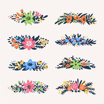 Floral bouquets borders retrostyled flowers