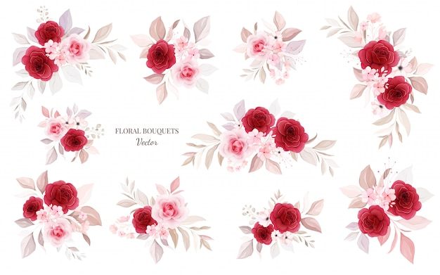 Floral bouquets   bundle. botanic decoration illustration of red and peach roses with leaves, branch.