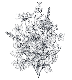 黒と白の手描きのハーブとスケッチスタイルの野花と花の花束。