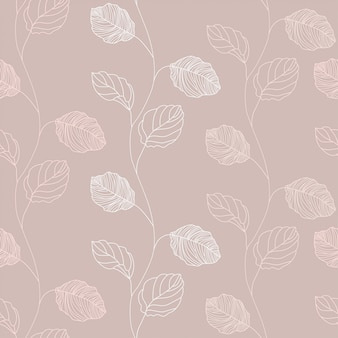 Floral branch line hand drawn pattern background