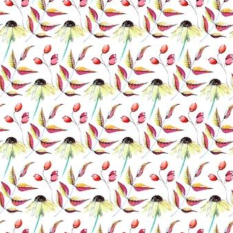 花の枝シームレスな水彩のパターン