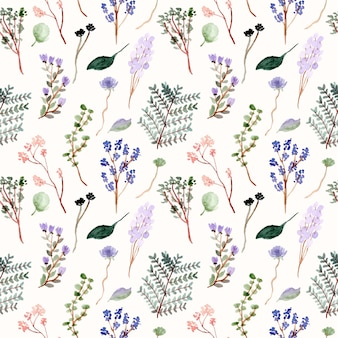 Floral and branches watercolor seamless pattern