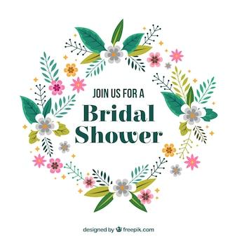 Floral bridal shower frame in flat design