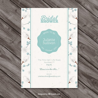 Цветочный свадебный душ приглашение в реалистичном дизайне